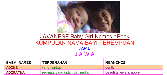 Cover E-Book for Javanese baby girl names