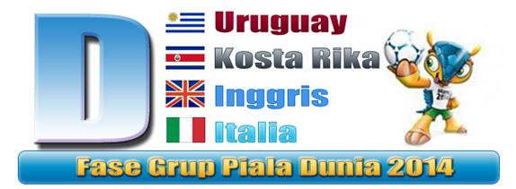 Jadwal penyisihan Grup D Piala Dunia - Uruguay Kosta Rika Inggris Italia