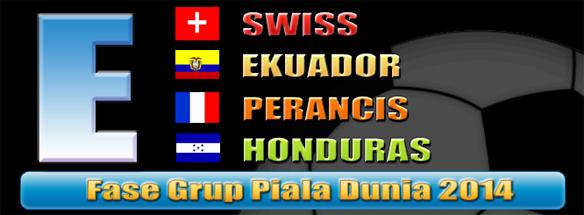Prediksi dan jadwal Grup E Piala Dunia 2014: Swiss, Ekuaor, Perancis dan Honduras.