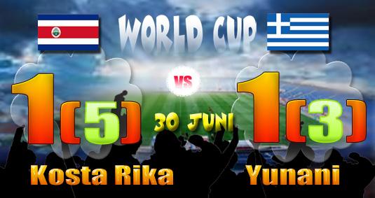 Hasil 16 Besar Piala Dunia 2014: Kosta Rika 1(5)-1(3) Yunani