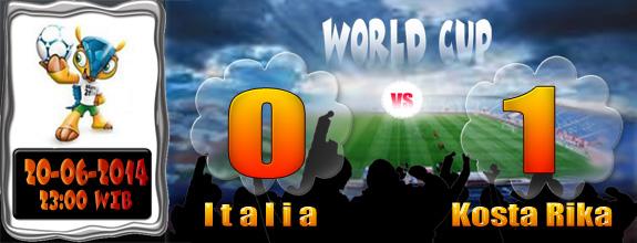 Skor Italia 0-1 Kosta Rika Paruh Pertama
