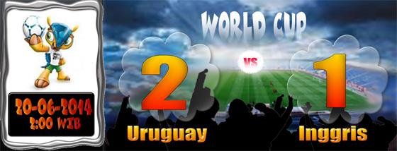 SKOR Piala Dunia 20 Juni: Uruguay 2 Inggris 1