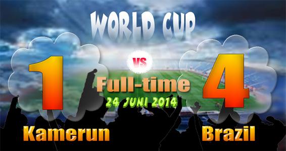 Skor PD 4-1 BRAZIL Juara Grup A, Kamerun Go Home, Brazil vs Chili