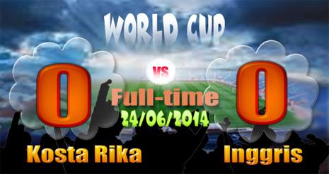 Hasil Piala Dunia Kosta Rika v Inggris Tadi malam