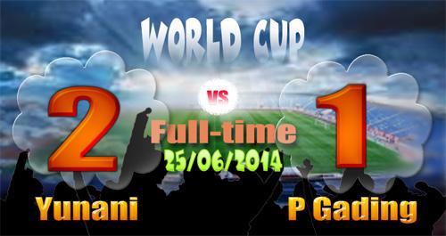 Skor Yunani Pantai Gading, vs Kosta Rika