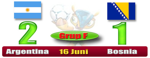 SKOR Piala Dunia Brazil - Argentina 2 Bosnia 1