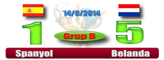 Skor Hasil Piala Dunia Dinihari - Spanyol 1 Belanda 5
