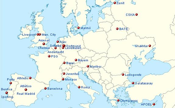 Peta 32 klub lolos ke fase Grup Liga Champion 2014-2015