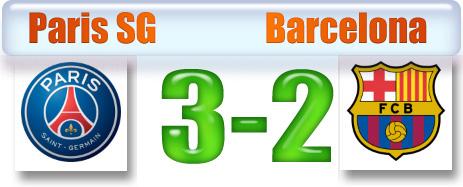 Skor pertandingan grup F Paris SG vs Barcelona 1 Oktober 2014.